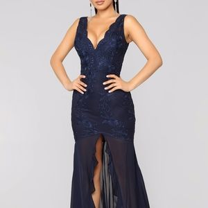 Fashion Nova Lace Blue Dress